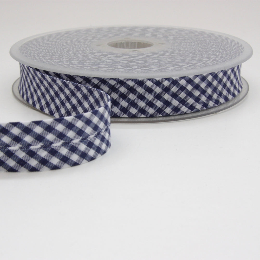 Gingham Bias Binding 20mm - Navy