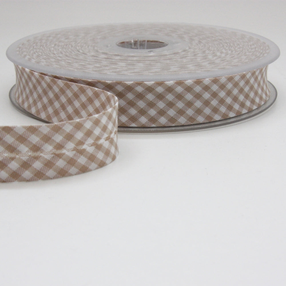Gingham Bias Binding 20mm - Beige