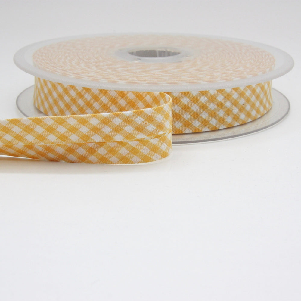 Gingham Bias Binding 20mm - Yellow
