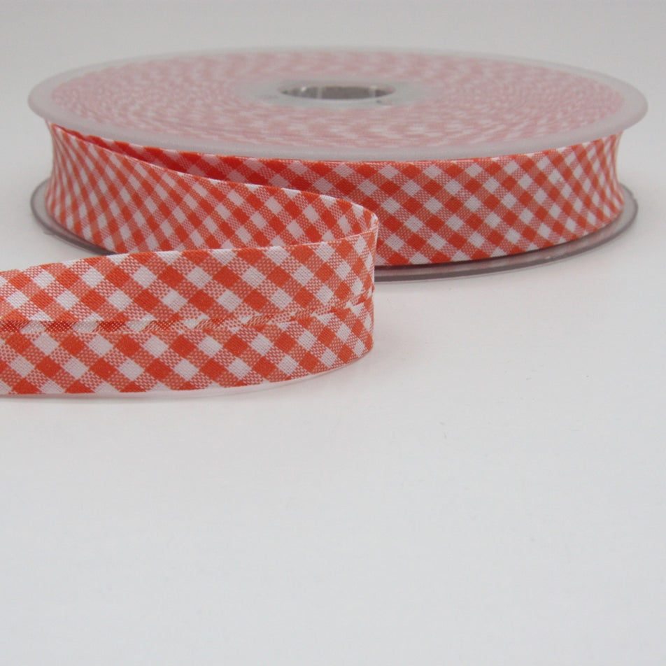 Gingham Bias Binding 20mm - Orange