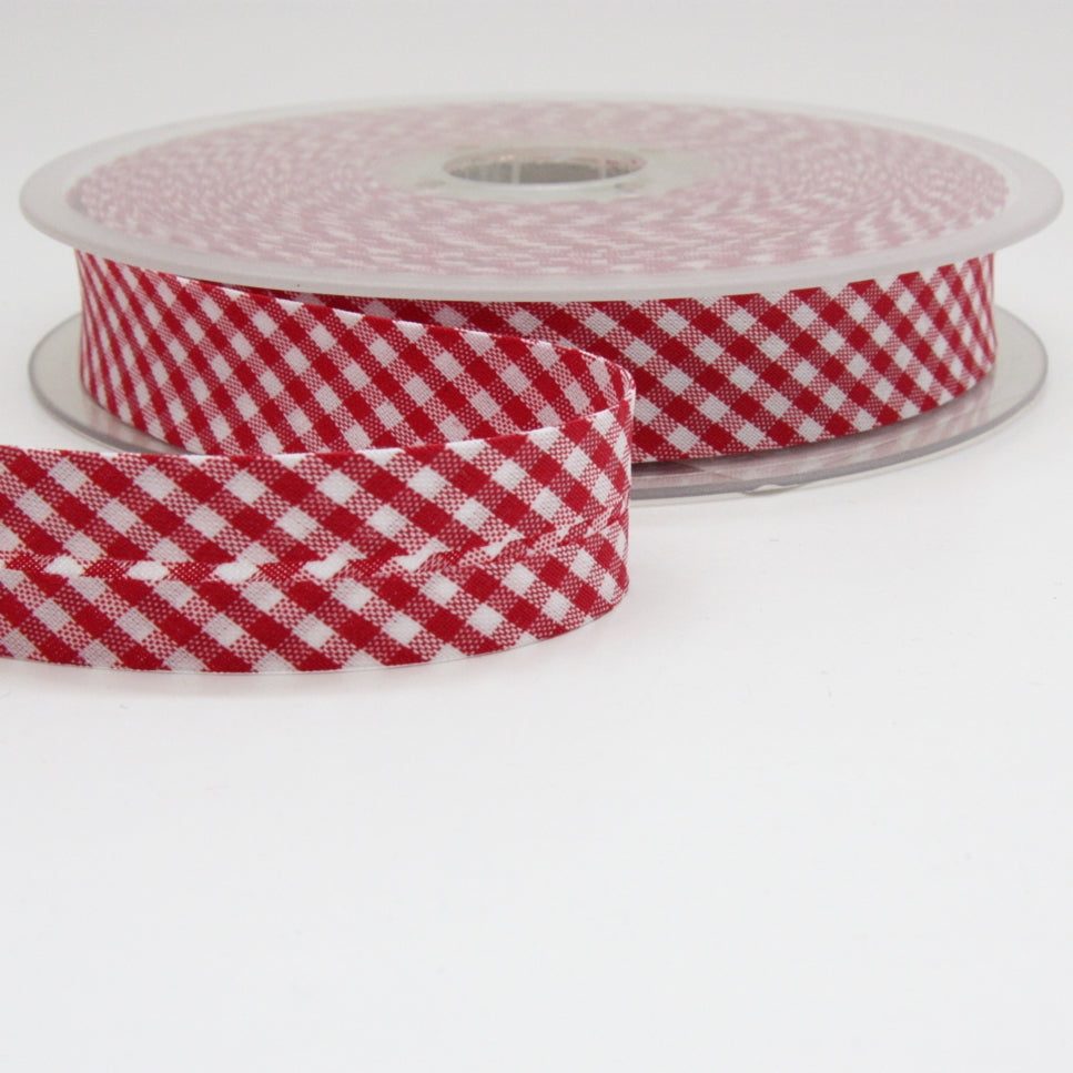Gingham Bias Binding 20mm - Red