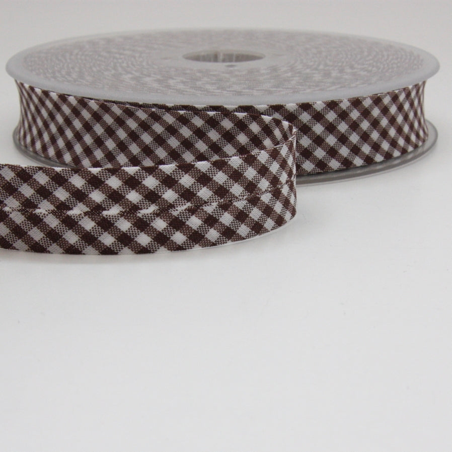 Gingham Bias Binding 20mm - Brown