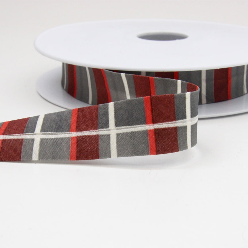Striped Bias Binding 20mm - Grey/Red/White