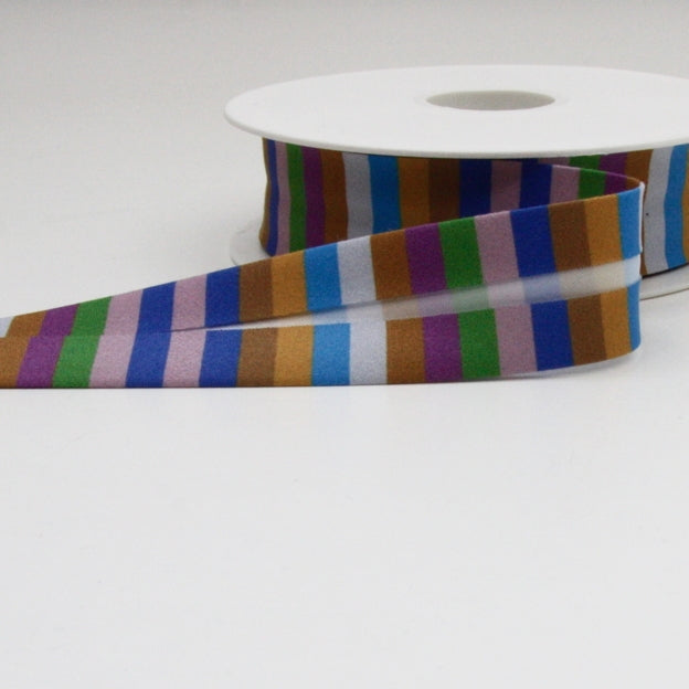 Striped Bias Binding 25mm - Blue/Gold/Grey