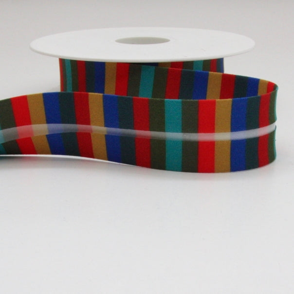 Striped Bias Binding 25mm - Red/Green/Turquoise