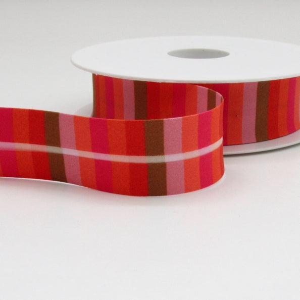 Striped Bias Binding 25mm - Pink/Orange/Tan