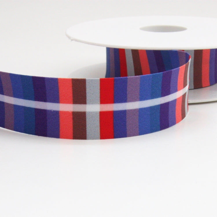 Striped Bias Binding 25mm - Red/Blue/Lilac