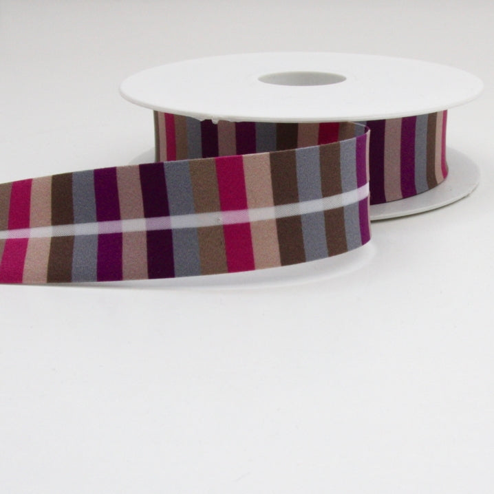 Striped Bias Binding 25mm - Beige/Brown/Grey