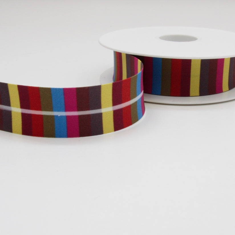 Striped Bias Binding 25mm - Yellow/Green/Wine