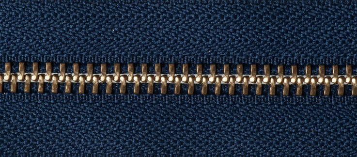 Brass Open-Ended Zip - Navy 919