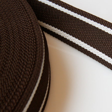 Heavy Nylon Striped Webbing - Brown/White