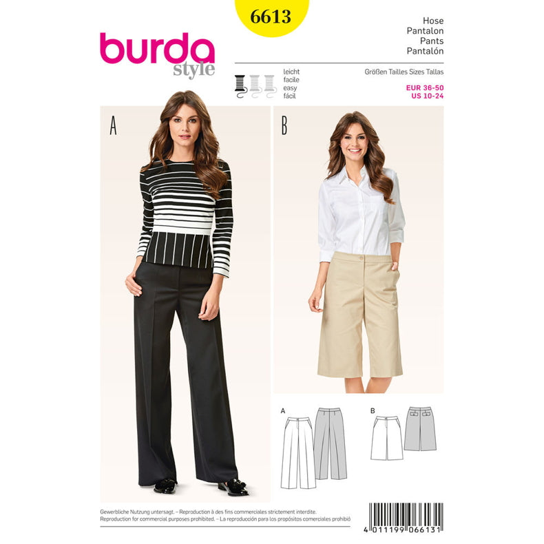 Burda Women's - 6613 Creased Culottes
