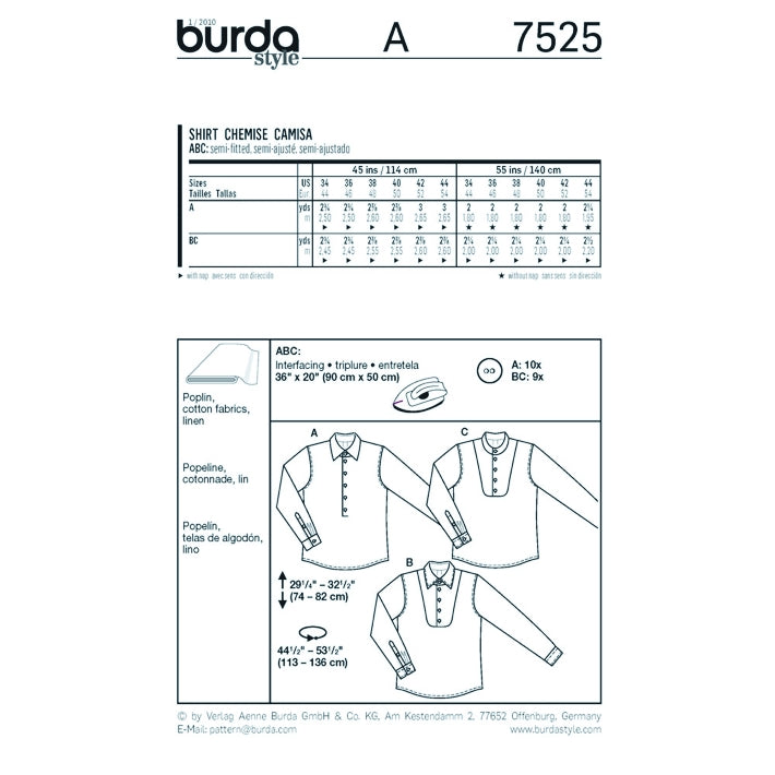 Burda Men's 7525 - Dress Shirts
