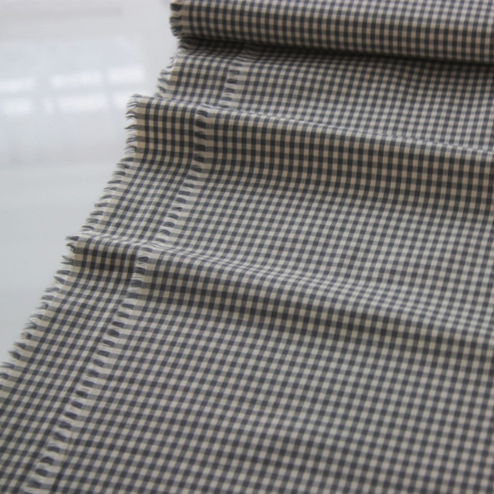 Japanese Cotton Shirting - Gingham Grey