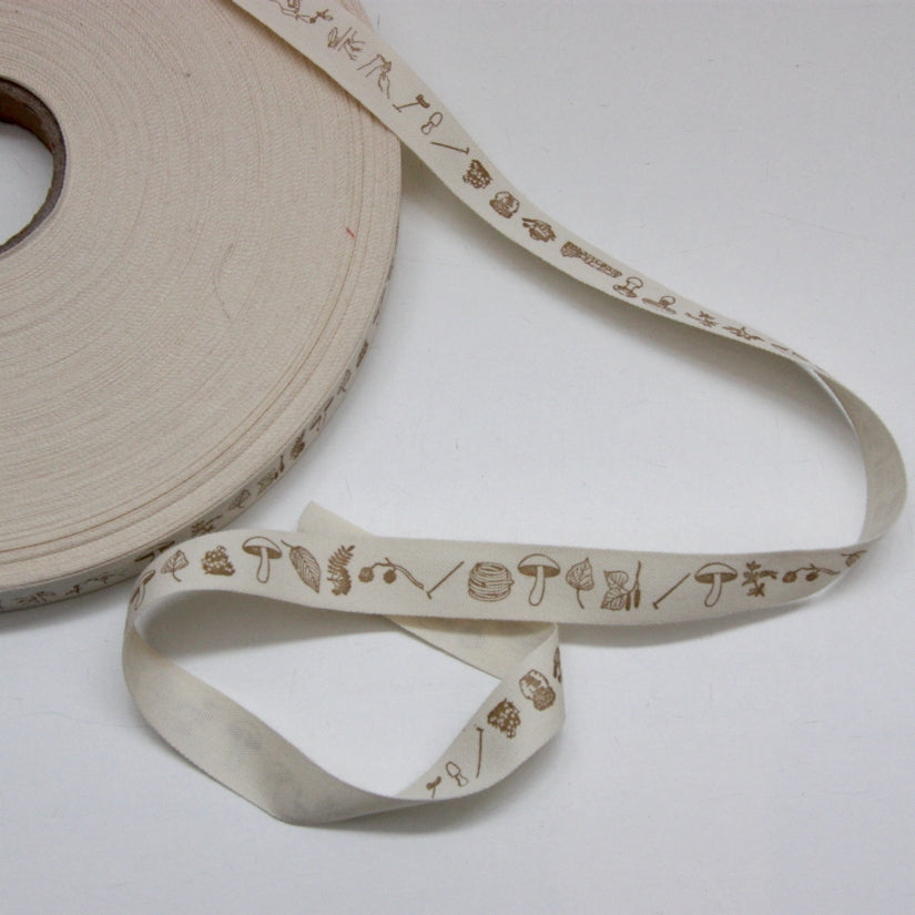 Printed Cotton Ribbon - Foraging Brown 17mm