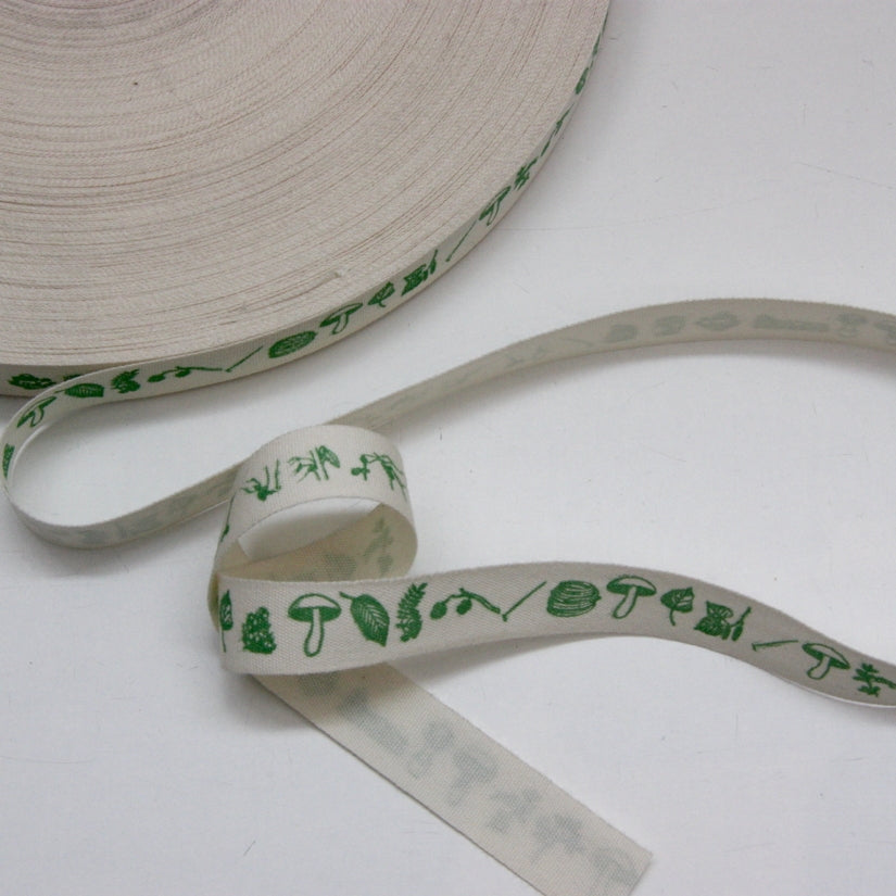 Printed Cotton Ribbon - Foraging Green 17mm