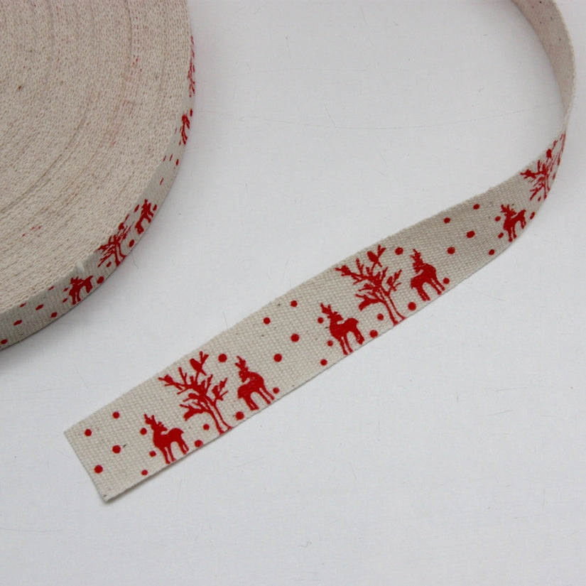 Printed Cotton Ribbon - Reindeer 21mm