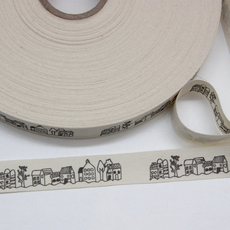 Printed Cotton Ribbon - Town Houses 22mm