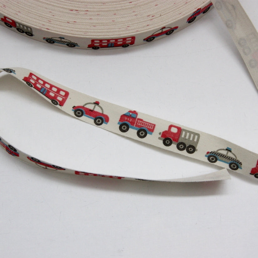 Printed Cotton Ribbon - Transport 16mm