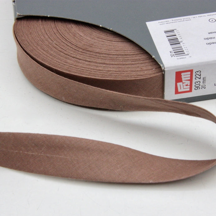 Prym Cotton Bias Binding 20mm - 223 Medium Brown