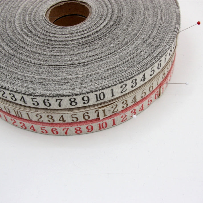 Printed Cotton Ribbon - Tape Measure Black 16mm