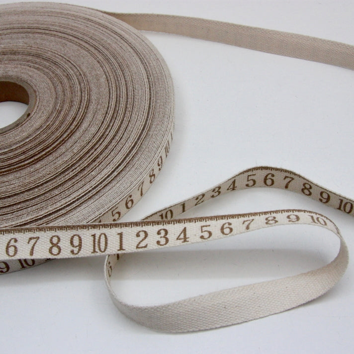 Printed Cotton Ribbon - Tape Measure Brown 16mm