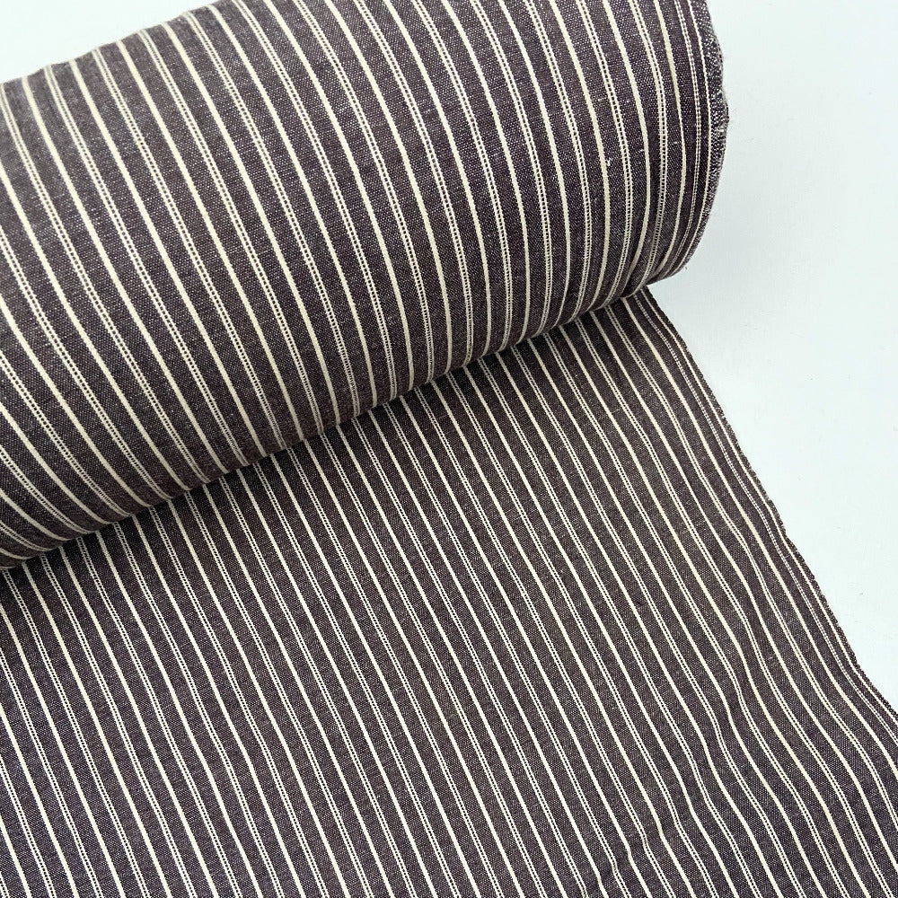 Organic Cotton Crossweave - Stripe Brown