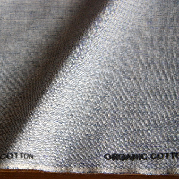 Organic Cotton Crossweave - Washed Blue