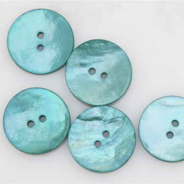 Coloured Shell Buttons - Aqua