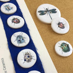 Set of 6 Porcelain Bug buttons