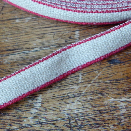 Linen Ribbon - Red Edge 12mm