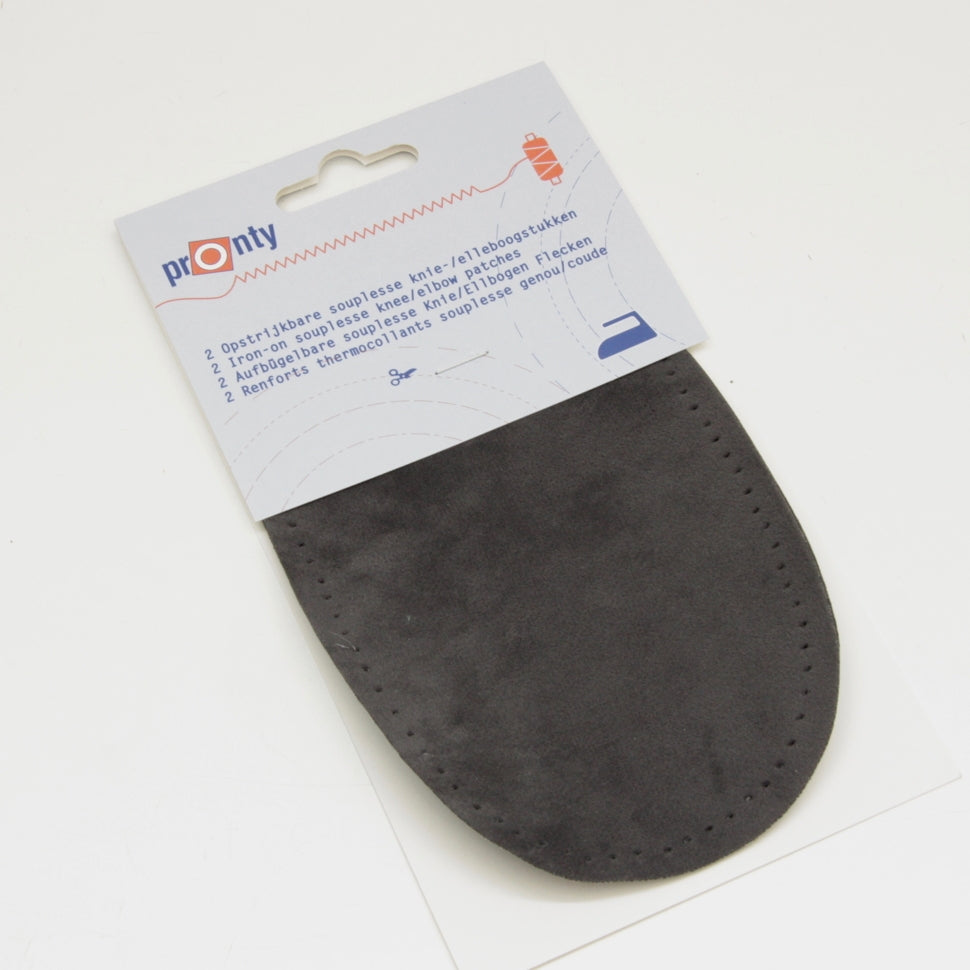 Pronty Iron-on Suede Elbow Patches - Light Grey