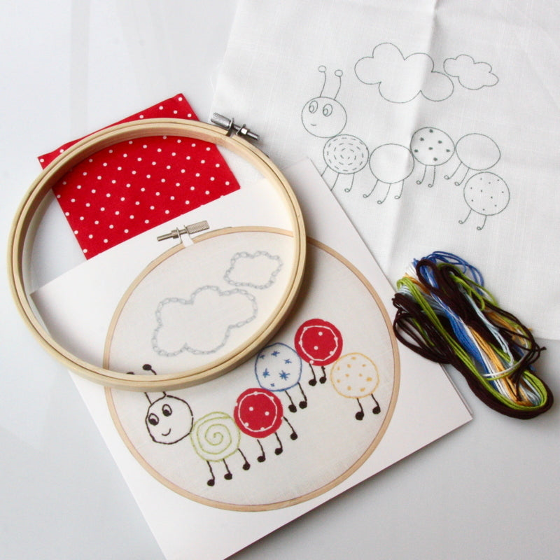 Children's Traced Embroidery Kit - Caterpillar