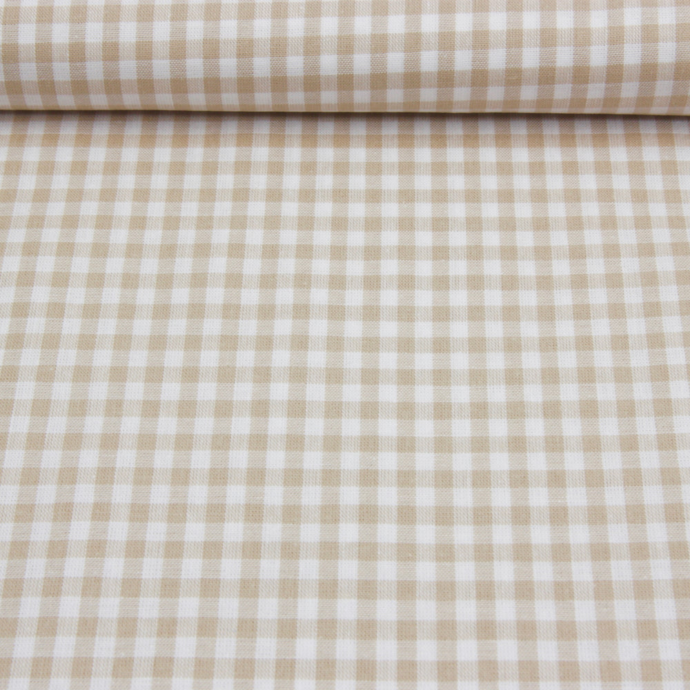 Wide Cotton Gingham - Beige/White 5mm