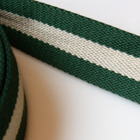 Heavy Strap Webbing - Green/Beige Striped