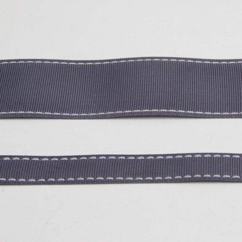 Grosgrain Stitch Ribbon - Mid Grey