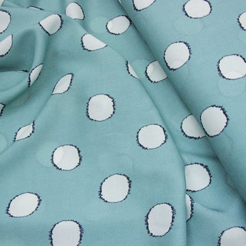 Viscose Print - Spot the Difference - Spearmint Blue