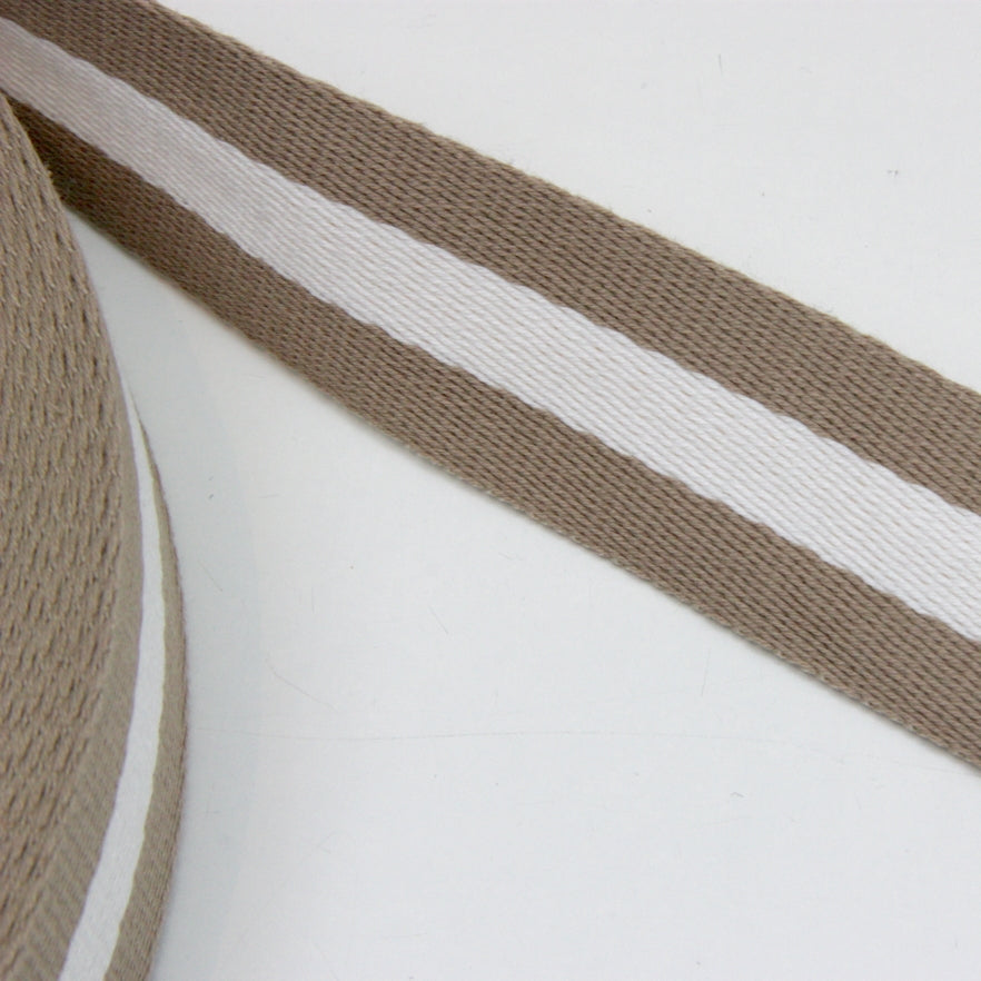 Stripe Strap Webbing 38mm - Beige/Ivory Striped