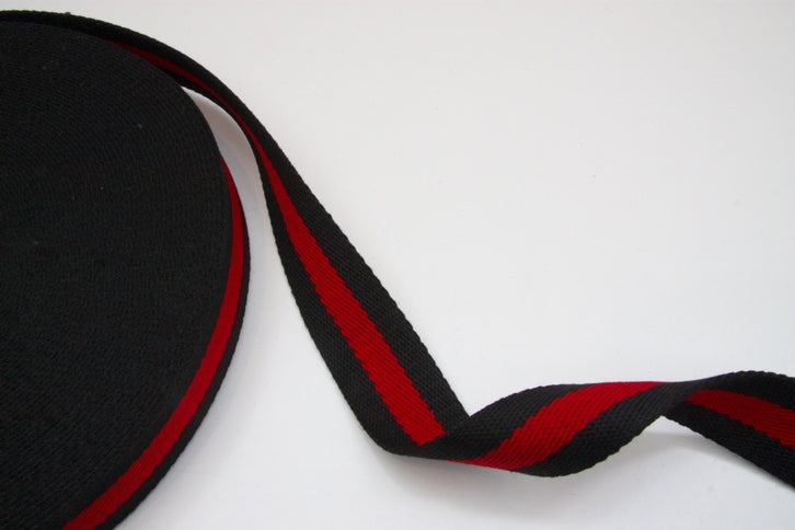 Heavy Strap Webbing - Black/Red Striped