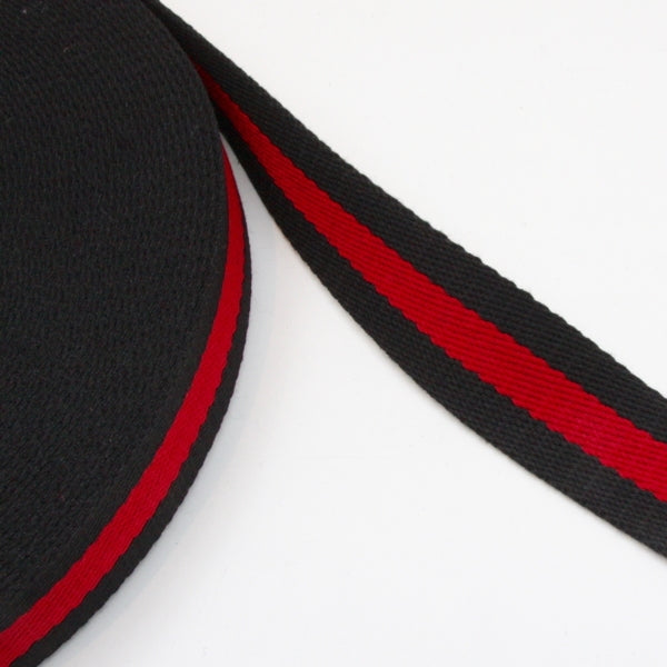 Stripe Strap Webbing 38mm - Black/Red Striped