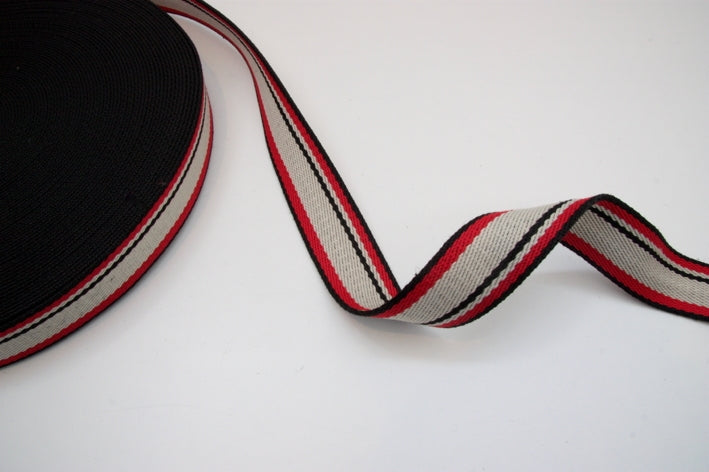 Heavy Strap Webbing - Black/Red/Cream Striped
