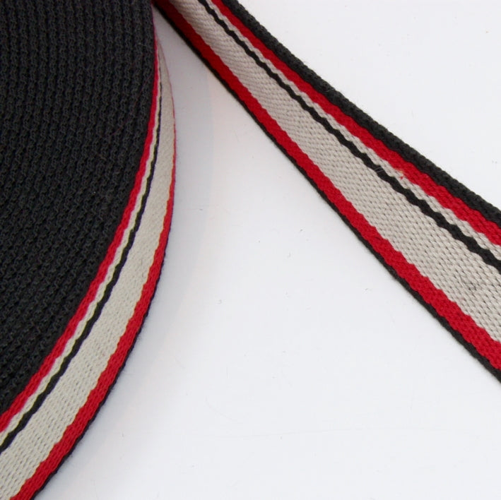Stripe Strap Webbing 38mm - Black/Red/Cream Striped