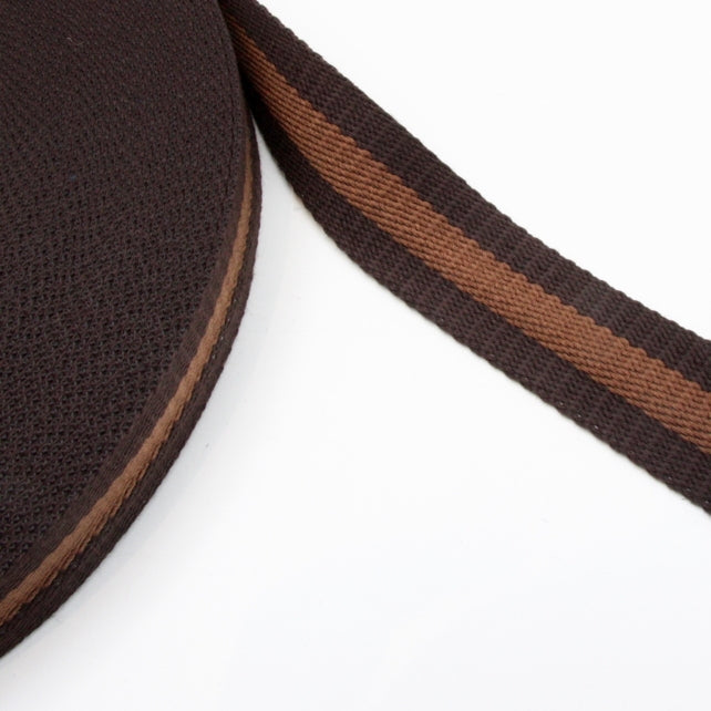 Stripe Strap Webbing 38mm - Chocolate/Chestnut Striped