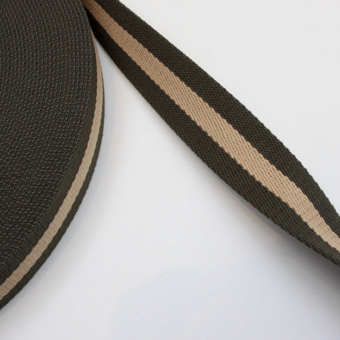 Stripe Strap Webbing 38mm - Khaki/Taupe Striped