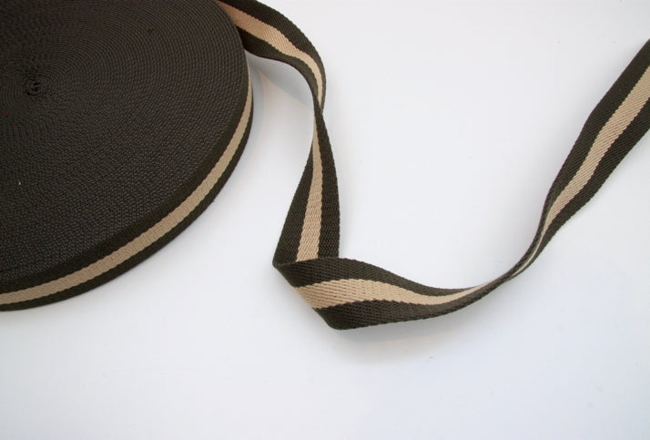 Heavy Strap Webbing - Khaki/Taupe Striped