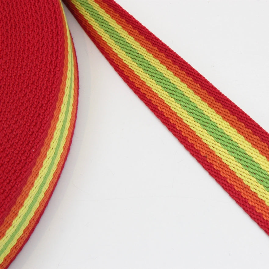 Heavy Strap Webbing - Citrus Multi Striped