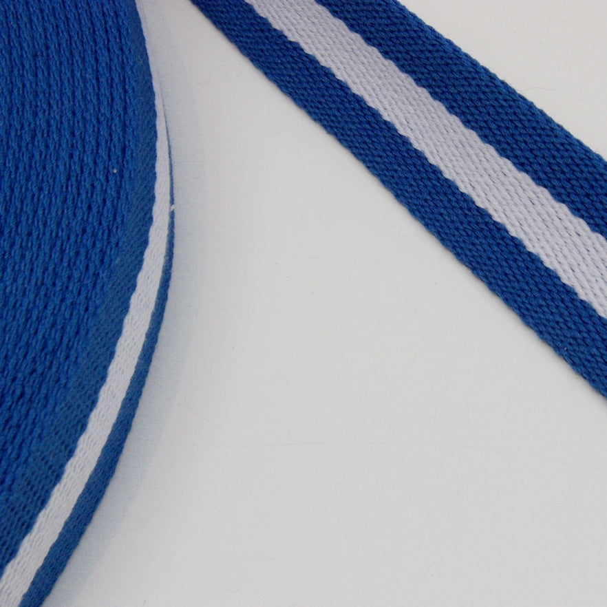Stripe Strap Webbing 38mm - Royal/White Striped