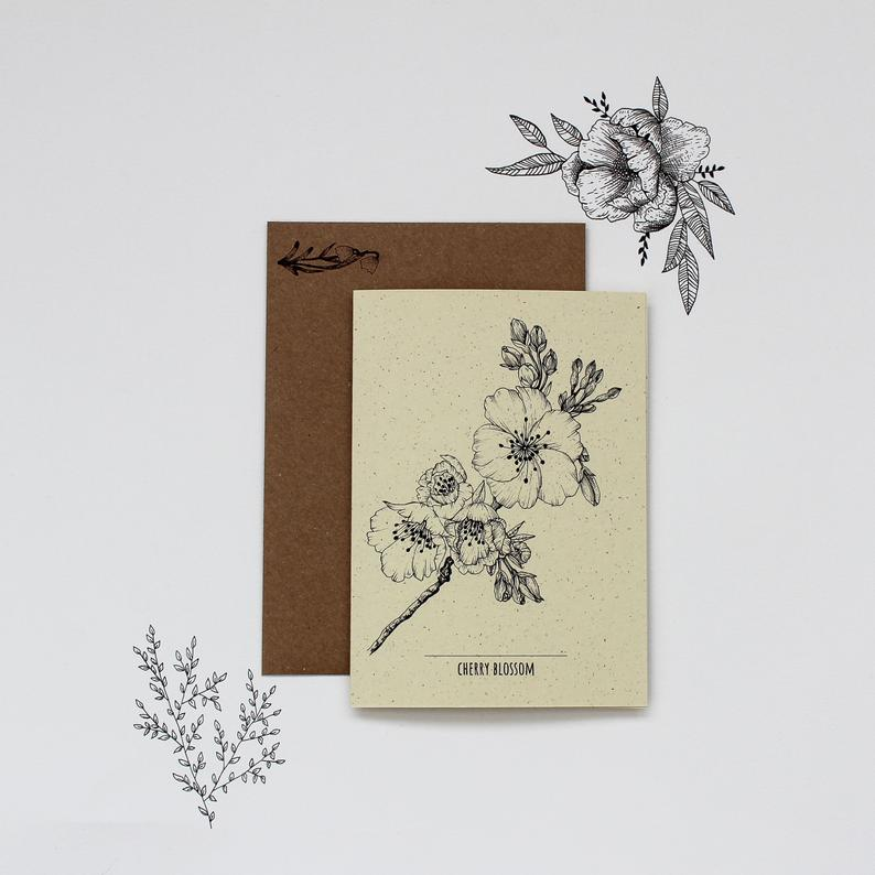Cherry Blossom Botanical Illustration Greetings Card