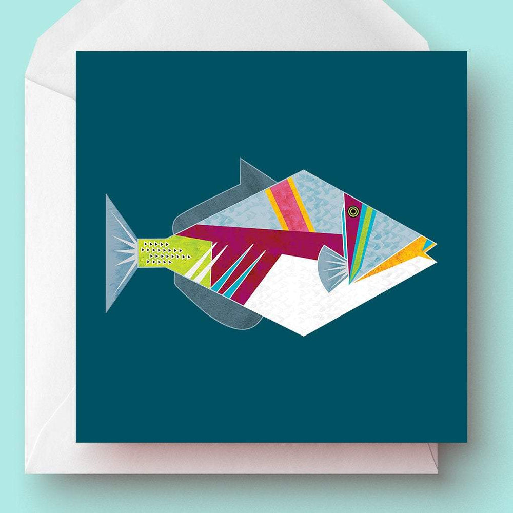 Geometric Picasso Triggerfish Greetings Card