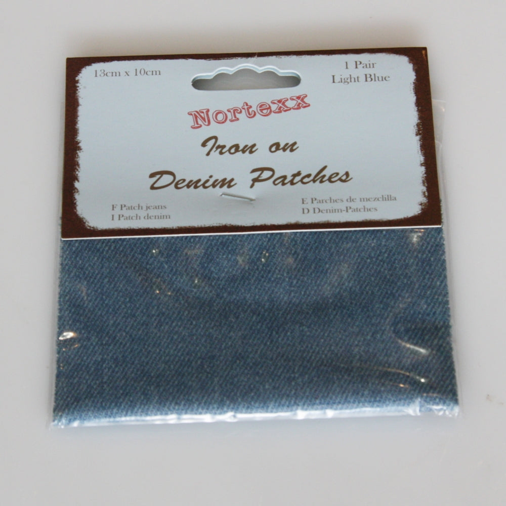 Iron-on Denim Mending Patch - Light Blue